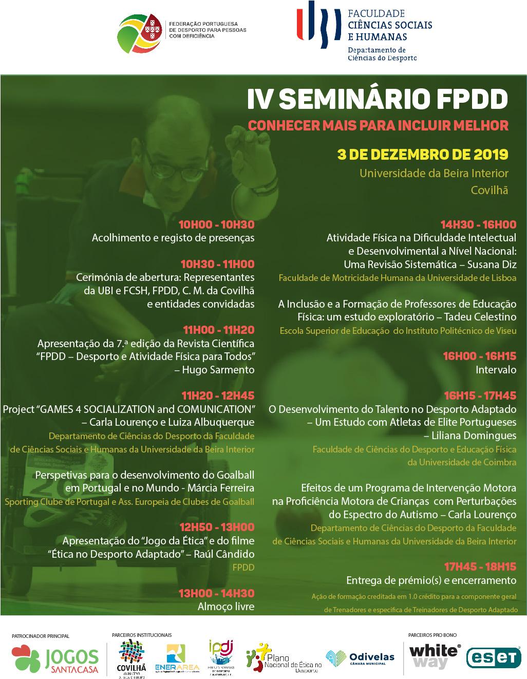 Cartaz IV Seminário FPDD 2019